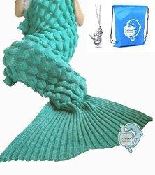 """LAGHCAT Mermaid Tail Blanket With Scale Knit Crochet Mermaid Blanket For Adult Sleeping Blanket 71""""X35.5"""" Green"""