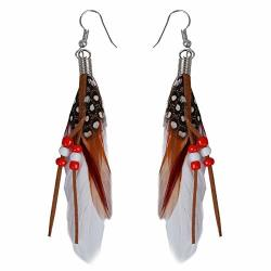 1 paire de pendentif d'oreilles de perle plumes indiennes du style exotique M2I8