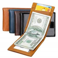 Leather Moneyclip Card Wallet