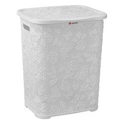 Floral White Linen Bin