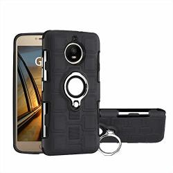 Case For Motorola Moto G5S XT1794 XT1792 XT1795 XT1797 XT1790 XT1791 XT1793 G5 Motorola Montana Case Cover + 360 Degree Rotating Ring Holder Kickstand Black