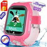 Hyanwoo IP67 Waterproof Kid Smartwatch Phone - Speedtalk Sim Included Best School Gift Girl Boy Gps Tracker Locator Fitness Trac