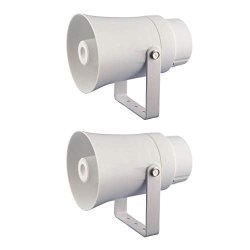 """Pyle PHSP10TA 5.6"""" Indoor outdoor Pa Horn Speaker 70 Volt 8 Ohm White 2 Pack"""