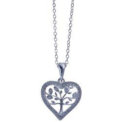 No Brand - Silver Cz Heart Tree Of Life Pen Chain YF003