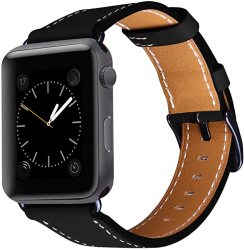 WATCH Omecky Strap Compatible With Apple Leather Band Series 5 4 44MM Series 3 2 1 42MM Black