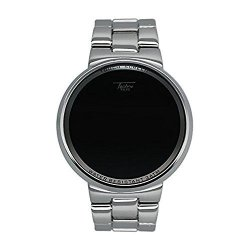 Techno Pave Iced Style Silver Plateddigital Touch Screen Sports Designer Metal Band Watch