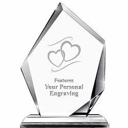 "Hearts Apex Crystal Award 6"" H Custom Engraved Hearts Award Engraving Included Prime"