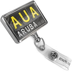 NEONBLOND Retractable Id Badge Reel Aua Airport Code For Aruba With Bulldog Belt Clip On Holder