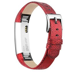 Igk Leather Replacemnt Bands Compatible For Fitbit Alta And Fitbit Alta Hr Genuine Leather Wristbands With Stainless Steel Buckle Gravel Red