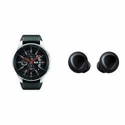 Samsung Galaxy Smartwatch 46MM Silver Bluetooth - Us Version With Warranty & Galaxy Buds Bluetooth True Wireless Earbuds Wireless Charging Case Included Black