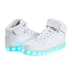 Mens Hi-top LED Sneakers - White