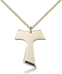 "Jewels Obsession Religiousobsession's Gold Filled Tau Cross Pendant - 18"" Chain"