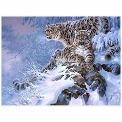 Dskin Diy 5D Diamond Painting Full Drill Kit Leopard Animal Snow Diamond Rhinestone By Number Embroidery Pictures Arts Craft Gift Home Wall Decor Cross