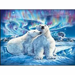 5D Diamond Painting Polar Bear And Aurora Feilin Full Drill Diy 5D Diamond Rhinestone Crystal Painting Cross Stitch Kit Wall Art Decor Diamond Embroidery