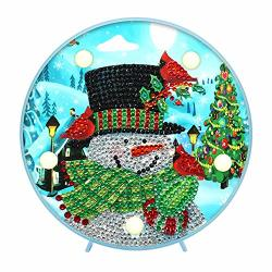 Christmas Diy Diamond Painting Kit With LED Light Whitelotous Handmade Artwork Special Drill Needlework Lamp Xmas Night Light Kids Bedroom Home Lamp Christmas Decor Snowman