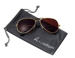 JF Store Wodison Classic Kids Aviator Sunglasses Reflective Metal Frame Children Eyeglass Gold Frame Brown Lens