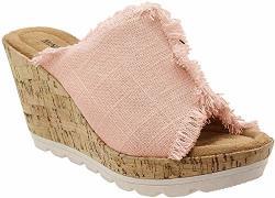 Minnetonka Womens York Sandal Blush Linen Size 7