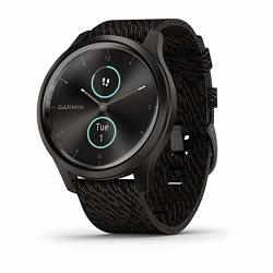 Garmin V Vomove Style Hybrid Smartwatch With Real Watch Hands And Hidden Color Touchscreen Displays Graphite With Black Woven Nylon Band