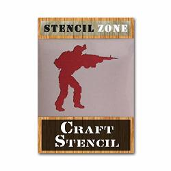 Soldier Army War Airrush Painting Wall Stencil 6