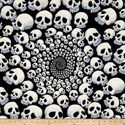 Alexander Henry Fabrics Alexander Henry The Ah Vault Skullfinity Black white Fabric By The Yard
