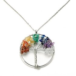 Sanmeader Crystal Quartz Tree Of Life Pendant Necklace - 7 Chakras Gemstone Charms Holiday Day Gifts