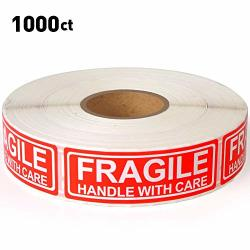 """3"""" X 1"""" Fragile Labels Handle With Care Warning Stickers For Shipping And Packing - 500 Permanent Adhesive Labels Per Roll 3""""X1"""""""