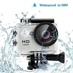 """YUNTAB HD 1080P 30FPS 12 Mega Pixels Sport MINI Dv Action Camera 2.0"""" Lcd 170 Wide Angle Lens 30M Waterproof Wifi Remote Control Outdoor Sports Silver"""