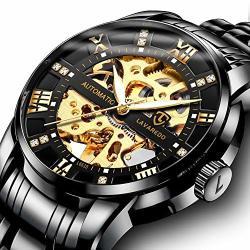 WATCH Men S Black Luxury Mechanical Stainless Steel Skeleton Waterproof Automatic Self-winding Luminous Diamond Dial Wrist