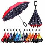 Bagail Double Layer Inverted Umbrellas Reverse Folding Umbrella Windproof Uv Protection Big Straight Umbrella For Car Rain Outdo