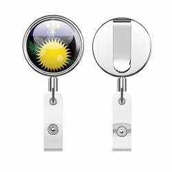 Guadeloupe Map Flag Glossy Label Retractable Reel Chrome Metal Badge Id Card Holder Clip