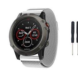 MyRBT Garmin Fenix 5X Watch Band Milanese Magnetic Loop Replacement Wristband Strap Bracelet For Garmin Fenix 5X Smart Watch Sil