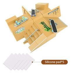 TIME4DEALS Finger Skateboard Park 8PCS Skate Park Kit Ramp Parts MINI Fingerboard Rails Starter Kit With 3 Fingerboards & 5 Sili
