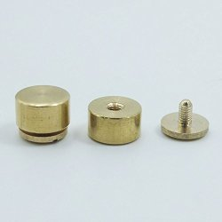 Micoshop 25 Pcs Brass Screwback Feet Size 10MM 11MM 12MM Screw Head Purse Handbag Nailheads Stud Spike Spot 11MMX6MM