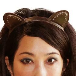 Kitty Planet Miss Kitty Ariana Leather Stud Cat Ear Headwear Headband - Bronze