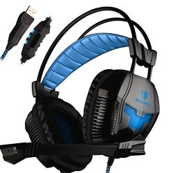 Sades A30 Pro PC USB Stereo Gaming Headsets Headband Over Ear Noise Cancellingheadphones With Microphone Volume Control LED Ligh