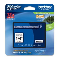 Brother Printer Brother Laminated Tape Black On Clear 6MM TZE111 - Retail Packaging