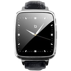 BIT S1S S1 Smart Watch Silver Black Leather Strap Android