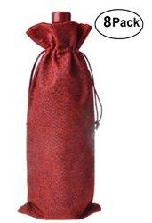 """14/"""" Red Burlap Wine Bags with Drawstring 100/% Natural Jute Burlap 25 Pk"""