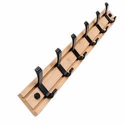 Natural Bamboo Coat Rack Wall Mounted