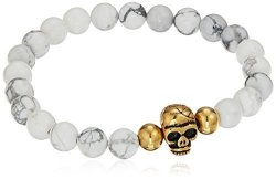 "Amazon Collection Men's Steeltime 18K Gold Plated Skull And Simulated White Marble Beaded Link Bracelet 8.75"" - 9.25"