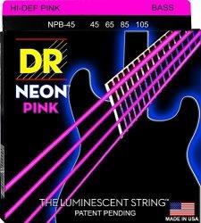 DR Strings NPB-45 Coated Nickel Hi-def Pink Bass Guitar Strings Medium