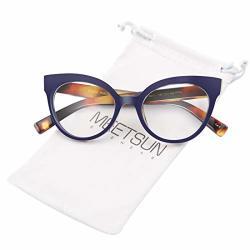 f53f025f46ff Womens Meetsun Cat Eye Glasses Frame Fashion Designer Non Prescription  Eyeglasses Clear Lens For Ladies Blue