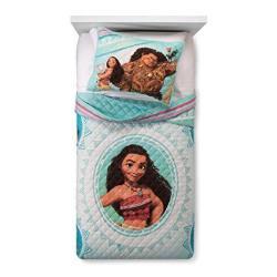 Disney Moana Wave Twin full Quilt & Sham Set - Super Soft Kids Bedding - Fade Resistant Microfiber Official Disney Product