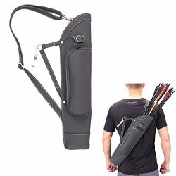 Kratarc Archery Dual Use Leather Back Arrow Quiver Hip Quiver Waist Hang Side With Adjustable Strap Belt Clip Black