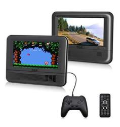 "Dual Screen Portable DVD Player & Game Pad System - Set Of Two 7"" Screens 6-PIECE Kit - DRC62705E24G"