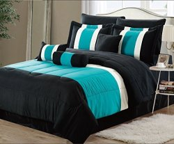 Empire Home 7 Piece Solid Embroidered Flower Oversized Comforter Set 21150