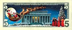 USA American Coin Treasures Jingle Bucks Colorized Dollar 5 Bill