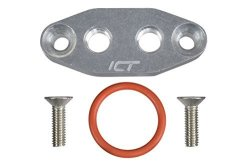 ICT Billet Ls Twin Turbo Dual 1 8 Npt Oil Feed Line Adapter Plate LS1 Lsx Kit Port LS3 Billet Plate Supply Pressure Sensor Cover