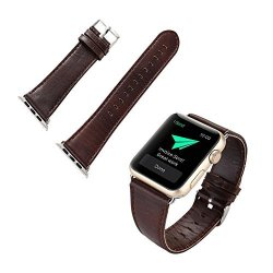Voberry For Apple Watch Band Leather Buckle Wrist Watch Band Strap Belt For Watch Apple Watch 42MM Dark Brown