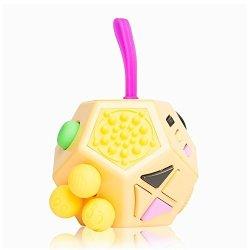 EDC Fidgeter Orange Fidget Cube Prime Quality Anti Stress Fidget Cube. Anti Anxiety Kids Fidget Spinner Cube. 12 Sided Fidget Cubes.